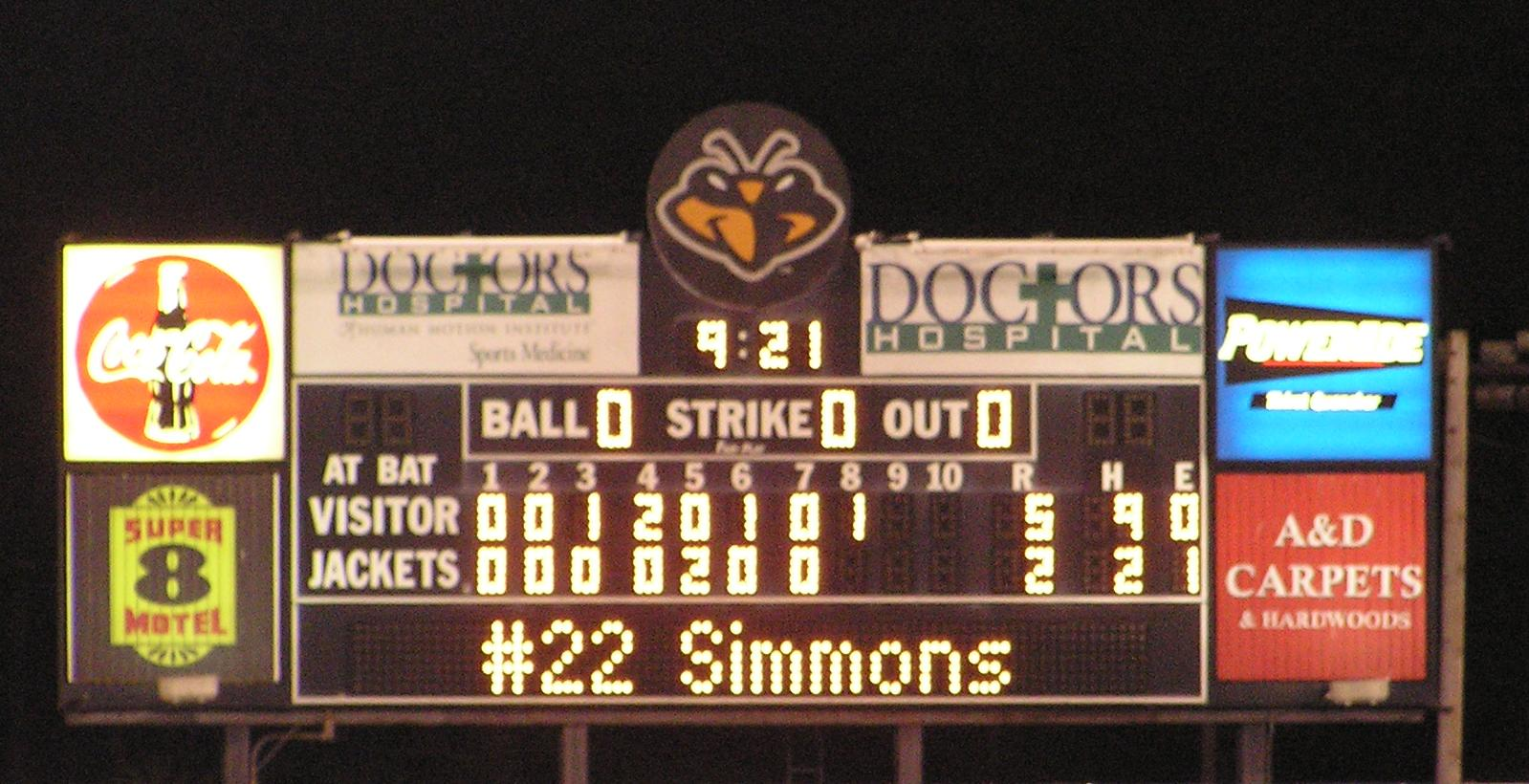 Scoreboard at Lake Olmstead Park, Augusta